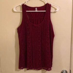Maroon Lace Front Patterned Tank Top